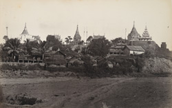 Pagodas at Yaynangeoung, on the Irrawaddy, Upper Burma. Yaynangeoung is famous for its petroleum wells